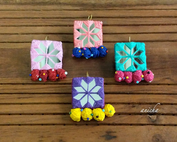 Fabric mirror earrings - Anicha