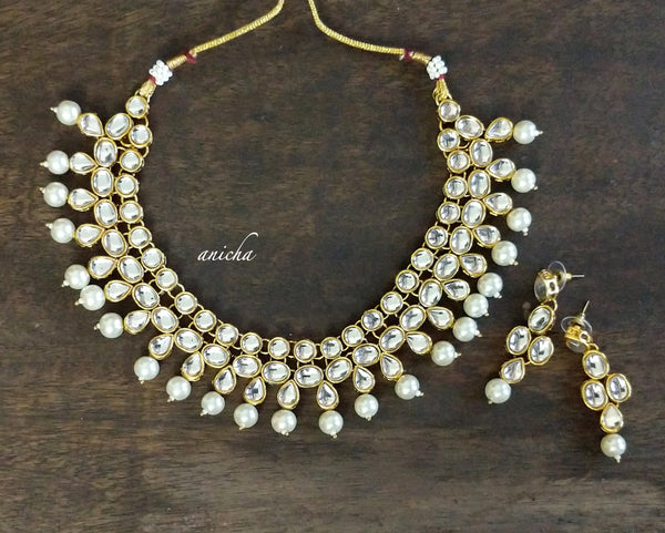 Kundan pearl necklace set - Anicha