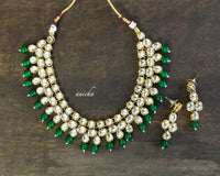 Kundan emerald necklace set - Anicha