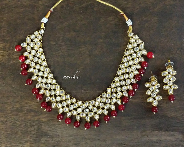 Kundan ruby necklace set 2 - Anicha