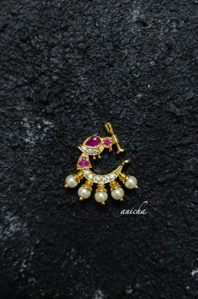 Clip-on nose ring - Ruby-white