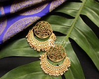 Big gold round pearl chandbalis
