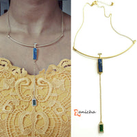 Blue green stone drop necklace - Anicha