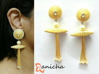 Matte stone tassel earrings - Anicha