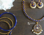 Classic blue kemp necklace set - Anicha