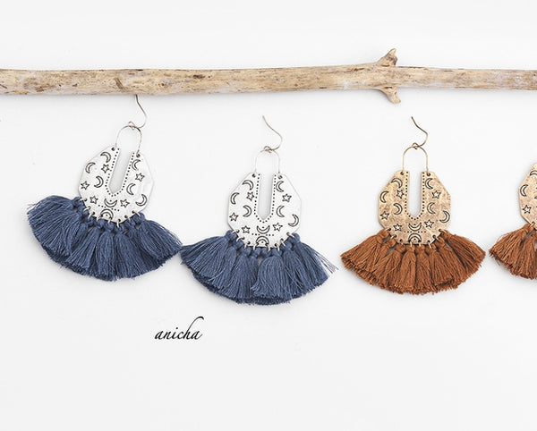 Tibetan silver moon tassel earrings - Anicha