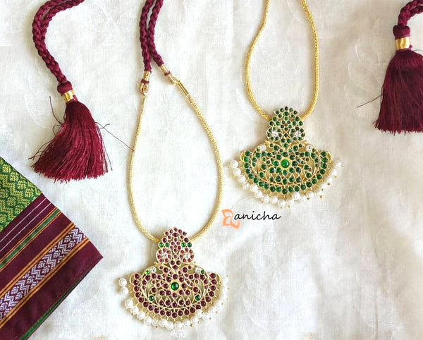 Green kemp temple necklace set - Anicha