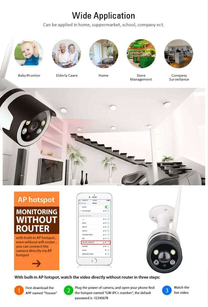 Bigolu com - V380 Smart Outdoor Weatherproof Bullet Camera