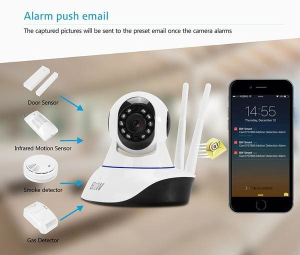 Secure360 Wireless HD CCTV WiFi IP Camera email alarm