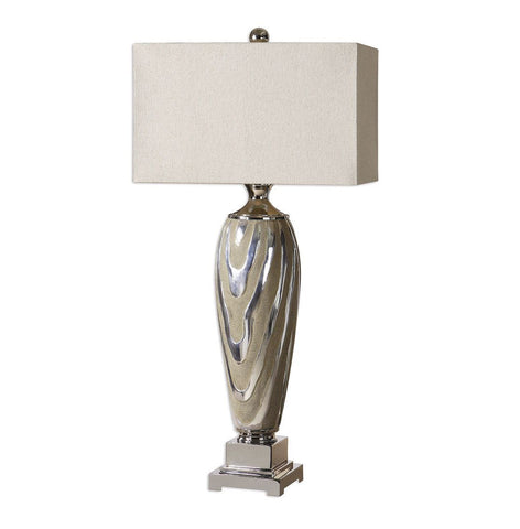 Designer Large Textured/Silver Plated Lamp/Natural Shade