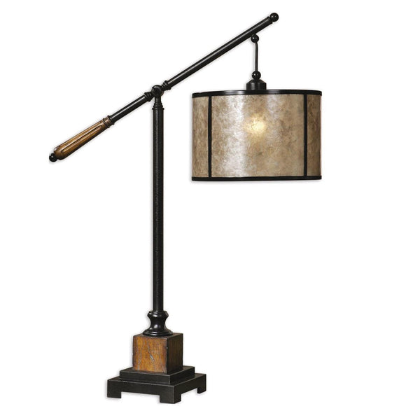 Black Metal & Wood Rustic Desk Lamp - Unique Gifts & Interiors