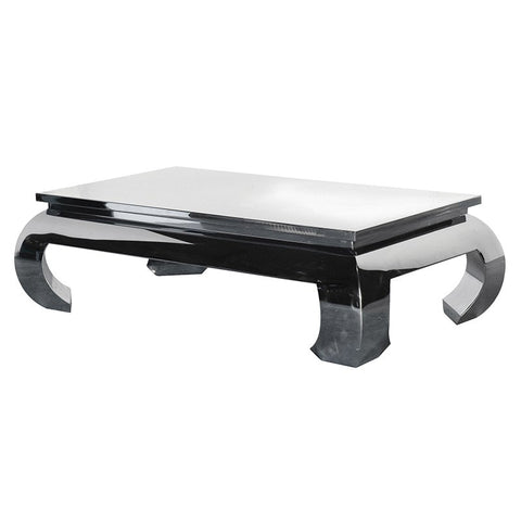 Designer Rectangular Polished Steel Coffee Table - Unique Gifts & Interiors