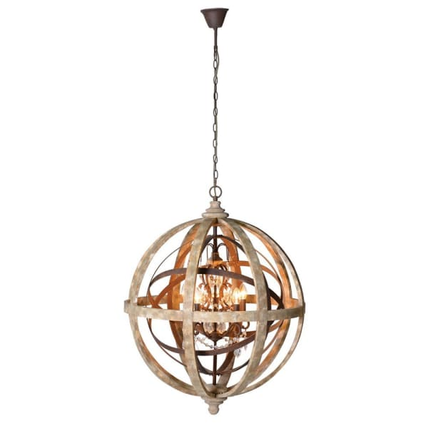 Globe Chandelier With Wood/Metal/Crystal