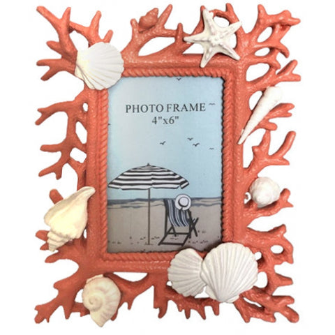 Coral With Shell Picture Frame