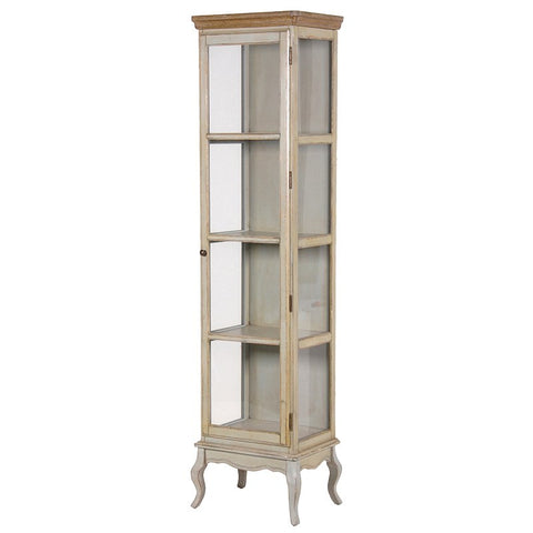 Shabby Chic Narrow Glass Display Cabinet