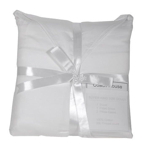 White 100% cotton satin Duvet Set - Double