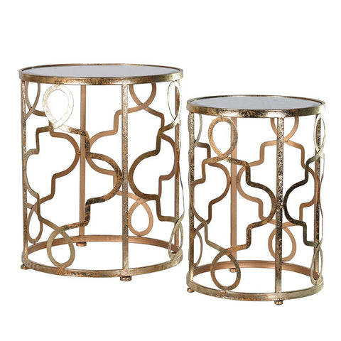 Set of 2 gold side tables - Unique Gifts & Interiors
