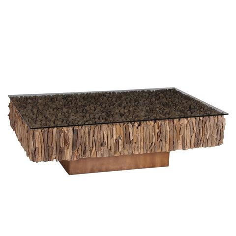Rectangular driftwood coffee table on base - Unique Gifts & Interiors
