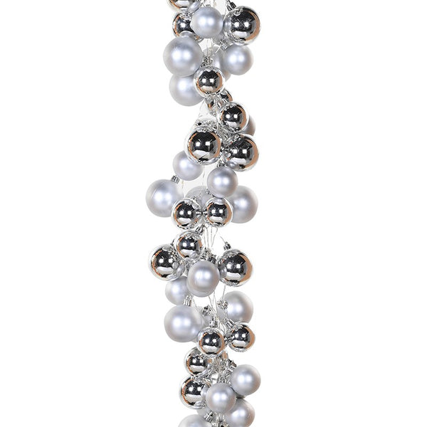 144 Led Silver and White Bauble Cascade