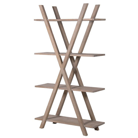 Oak X-frame 4 shelf display unit - Unique Gifts & Interiors