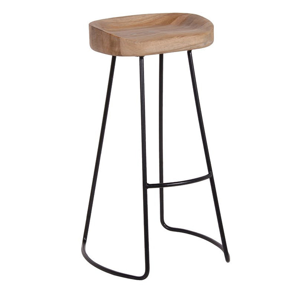 Weathered Oak and Metal Stool - Unique Gifts & Interiors