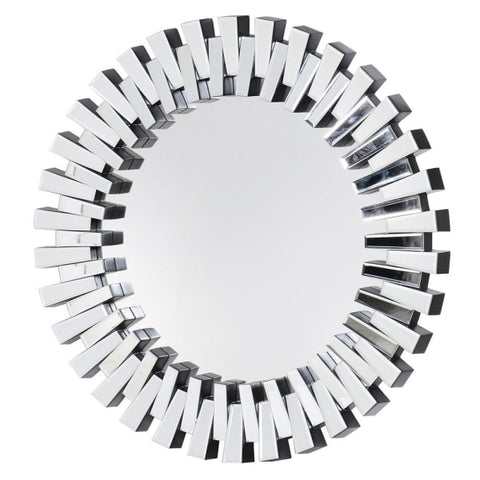 Round Designer Mirrored Frame Mirror