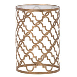 Pattern gold metal side table