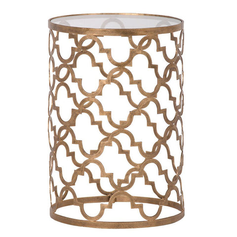 Pattern gold metal side table - Unique Gifts & Interiors