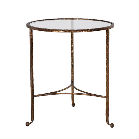 Simple iron side table with glass top - Unique Gifts & Interiors