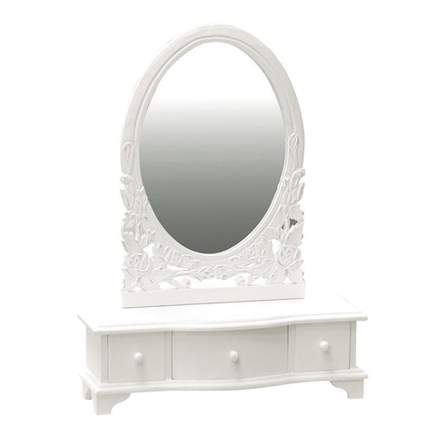 White carved dressing table mirror