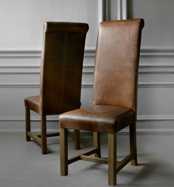 Brown Aniline Leather dining chairs