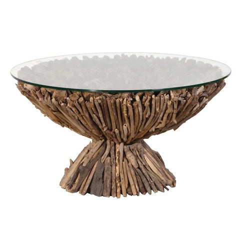 Driftwood Round Pedestal Coffee Table