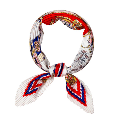TSE RED HORSES PLEATED SCARF