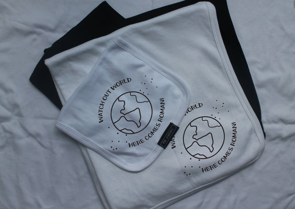 Personalised watch out world Bib & Swaddle Blanket Set