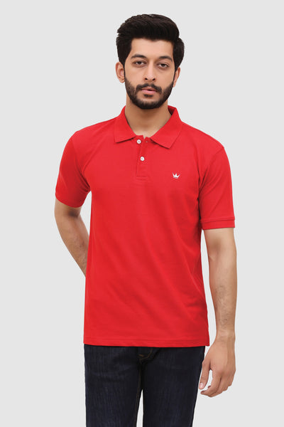 Men's 'Summer' Relaxed Polo - Crimson Red