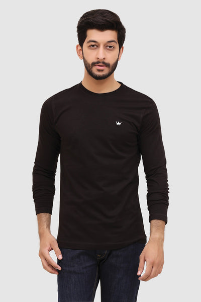 Mens Long-Sleeve Crew T-Shirt - Black