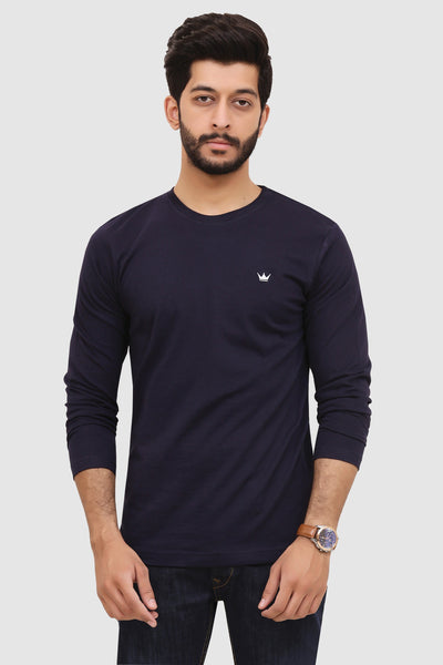 Mens Long-Sleeve Crew T-Shirt - Navy Blue