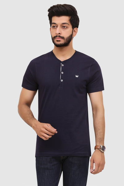 Mens Short-Sleeve Henley - Navy Blue