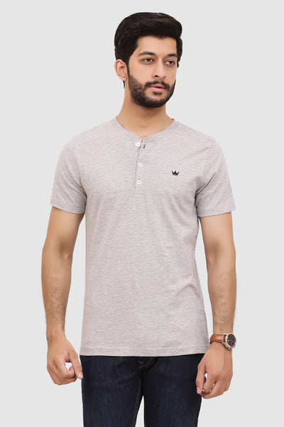 Mens Short-Sleeve Henley - Heather Grey