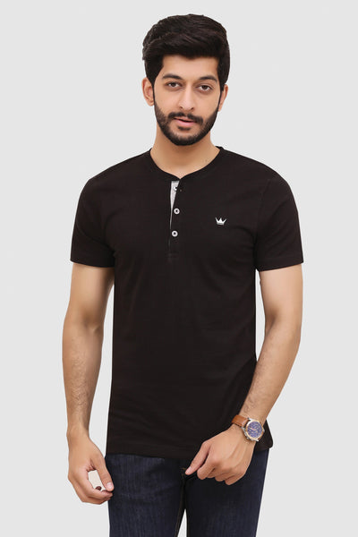 Mens Short-Sleeve Henley - Black