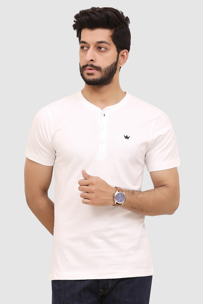 Mens Short-Sleeve Henley - White