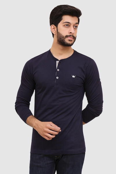Mens Long-Sleeve Henley - Navy Blue