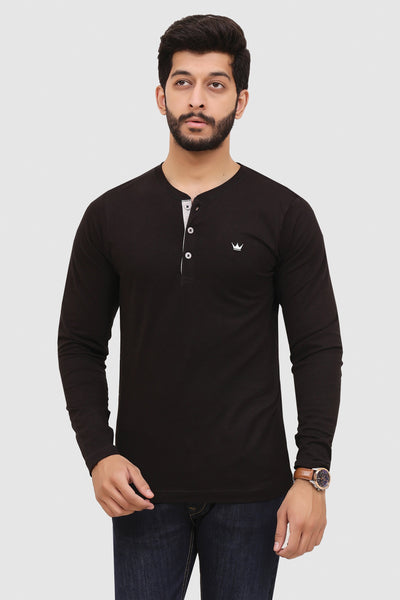 Mens Long-Sleeve Henley - Black