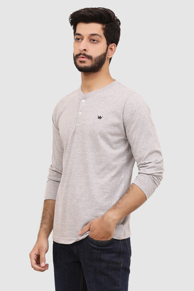 Mens Long-Sleeve Henley - Heather Grey