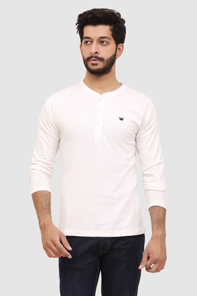 Mens Long-Sleeve Henley - White