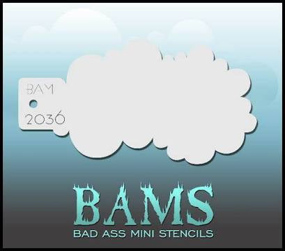 BAM- Bad Ass Mini Face painting Stencils- cloud -2036