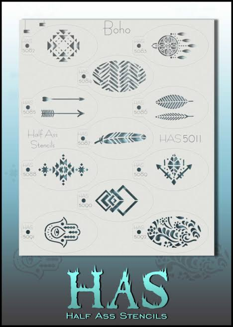 BAM Half Ass Stencil Set- Boho Festival Set- feathers, dream catchers etc