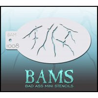 BAM- Bad Ass Mini Face painting Stencils 1008 Cracks or veins