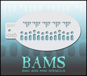 BAM- Bad Ass Mini Face painting Stencils 1026- Lace or edging
