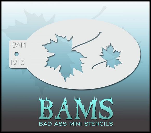 BAM- Bad Ass Mini Face painting Stencils 1215- Autumn leaf